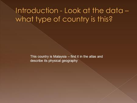 This country is Malaysia – find it in the atlas and describe its physical geography.