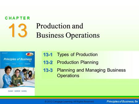 © 2012 Cengage Learning. All Rights Reserved. Principles of Business, 8e C H A P T E R 13 SLIDE 1 13-1 13-1Types of Production 13-2 13-2Production Planning.