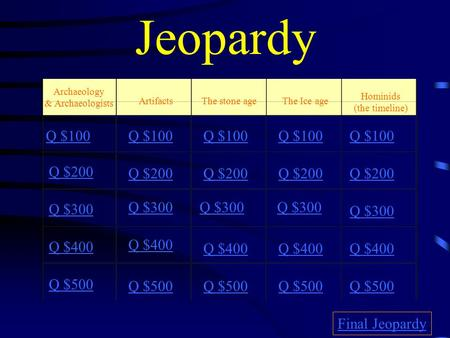 Jeopardy Archaeology & Archaeologists ArtifactsThe stone ageThe Ice age Q $100 Q $200 Q $300 Q $400 Q $500 Q $100 Q $200 Q $300 Q $400 Q $500 Final Jeopardy.