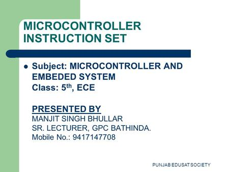 MICROCONTROLLER INSTRUCTION SET