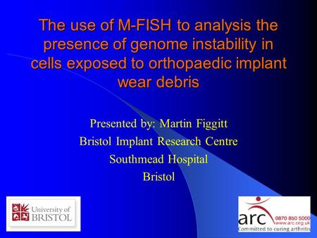 The use of M-FISH to analysis the presence of genome instability in cells exposed to orthopaedic implant wear debris Presented by: Martin Figgitt Bristol.