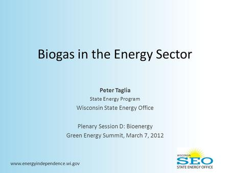 Biogas in the Energy Sector Peter Taglia State Energy Program Wisconsin State Energy Office Plenary Session D: Bioenergy Green Energy Summit, March 7,