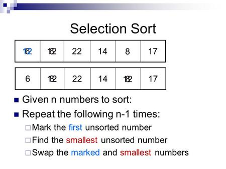 12 8 8 8 6 66 1722 Selection Sort Given n numbers to sort: Repeat the following n-1 times:  Mark the first unsorted number  Find the smallest unsorted.