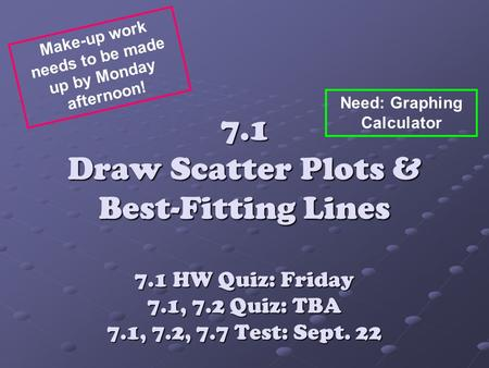 7.1 Draw Scatter Plots & Best-Fitting Lines 7.1 HW Quiz: Friday 7.1, 7.2 Quiz: TBA 7.1, 7.2, 7.7 Test: Sept. 22 Make-up work needs to be made up by Monday.