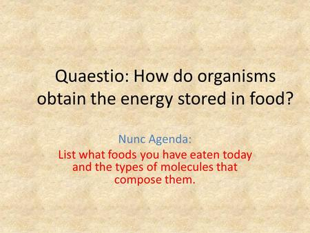 Quaestio: How do organisms obtain the energy stored in food? Nunc Agenda: List what foods you have eaten today and the types of molecules that compose.