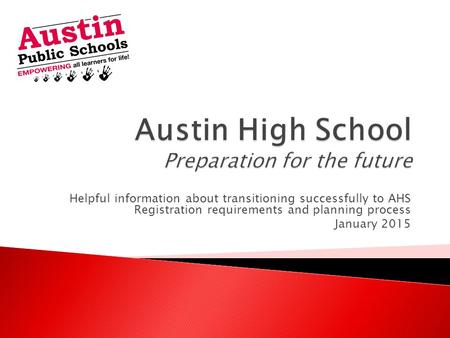 Helpful information about transitioning successfully to AHS Registration requirements and planning process January 2015.