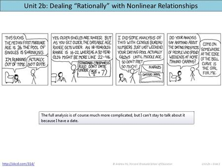 "Unit 2b: Dealing ""Rationally"" with Nonlinear Relationships © Andrew Ho, Harvard Graduate School of EducationUnit 2b – Slide 1"