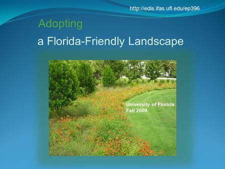 A Florida-Friendly Landscape Adopting University of Florida Fall 2009