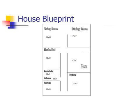 House Blueprint. Living Room 10'x14'x12' Area: 10 feet x 14 feet 10 x 14 = 140 square feet Room square footage is 140 Square feet. Perimeter: 2(10 feet)+2(14.