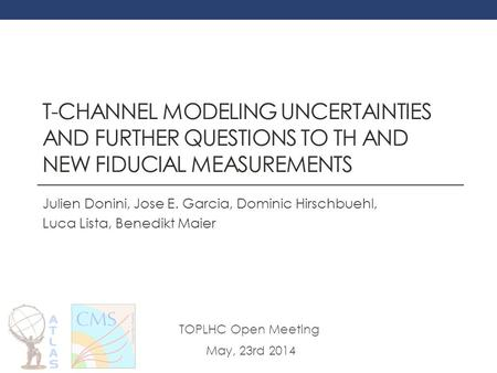 T-CHANNEL MODELING UNCERTAINTIES AND FURTHER QUESTIONS TO TH AND NEW FIDUCIAL MEASUREMENTS Julien Donini, Jose E. Garcia, Dominic Hirschbuehl, Luca Lista,