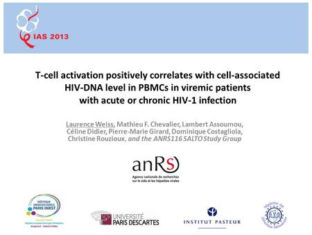 T-cell activation positively correlates with cell-associated HIV-DNA level in PBMCs in viremic patients with acute or chronic HIV-1 infection Laurence.