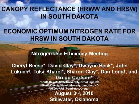 1 CANOPY REFLECTANCE (HRWW AND HRSW) IN SOUTH DAKOTA ECONOMIC OPTIMUM NITROGEN RATE FOR HRSW IN SOUTH DAKOTA Nitrogen Use Efficiency Meeting Cheryl Reese*,