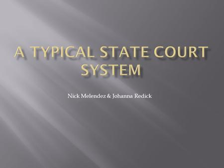 Nick Melendez & Johanna Redick.  A typical state court system resembles the federal system.  Legislature makes the laws.  Executive branch enforces.