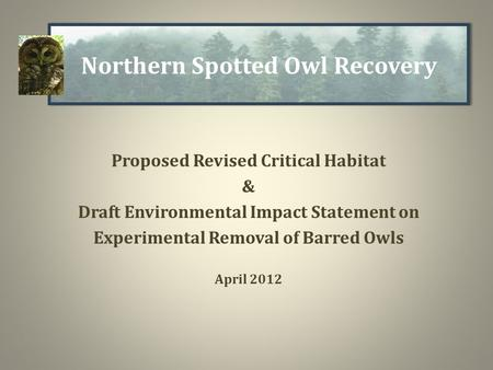 Proposed Revised Critical Habitat & Draft Environmental Impact Statement on Experimental Removal of Barred Owls April 2012 Northern Spotted Owl Recovery.