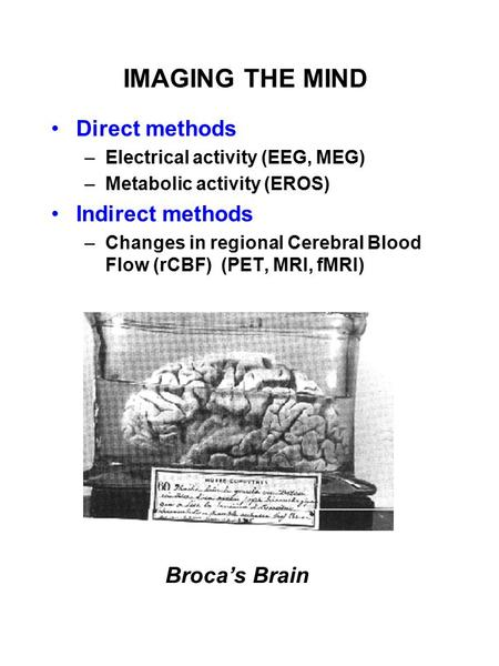 IMAGING THE MIND Direct methods –Electrical activity (EEG, MEG) –Metabolic activity (EROS) Indirect methods –Changes in regional Cerebral Blood Flow (rCBF)