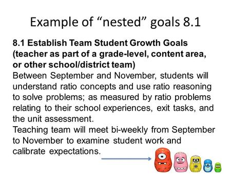 "Example of ""nested"" goals 8.1 8.1 Establish Team Student Growth Goals (teacher as part of a grade-level, content area, or other school/district team) Between."