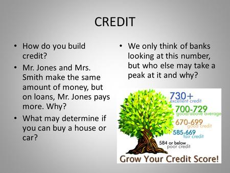 CREDIT How do you build credit? Mr. Jones and Mrs. Smith make the same amount of money, but on loans, Mr. Jones pays more. Why? What may determine if you.