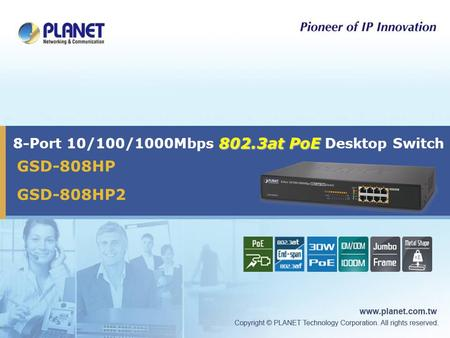802.3at PoE 8-Port 10/100/1000Mbps 802.3at PoE Desktop Switch GSD-808HP GSD-808HP2.