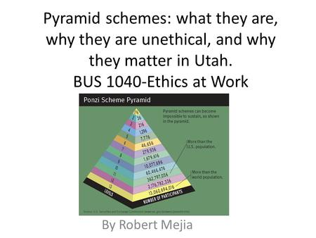 Pyramid schemes: what they are, why they are unethical, and why they matter in Utah. BUS 1040-Ethics at Work By Robert Mejia.