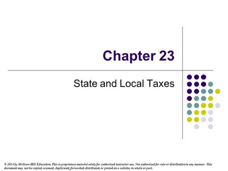 Chapter 23 State and Local Taxes