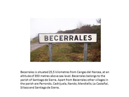 Becerrales is situated 25,5 kilometres from Cangas del Narcea, at an altitude of 850 metres above sea level. Becerrales belongs to the parish of Santiago.