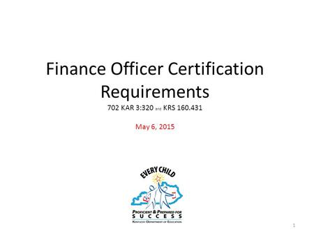 Finance Officer Certification