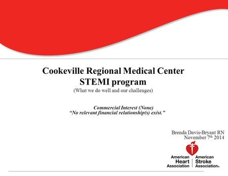 Where is Cookeville Regional Medical Center? 0 Cookeville Regional Medical Center STEMI program (What we do well and our challenges) Commercial Interest.