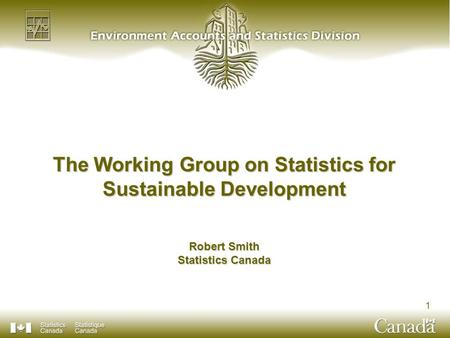 1 The Working Group on Statistics for Sustainable Development Robert Smith Statistics Canada.
