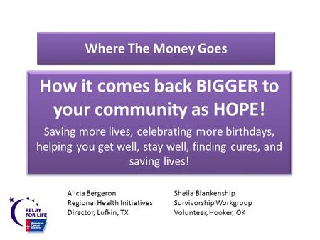 Where The Money Goes How it comes back BIGGER to your community as HOPE! Saving more lives, celebrating more birthdays, helping you get well, stay well,