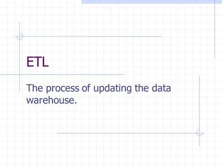 ETL The process of updating the data warehouse.. Recent Developments in Data Warehousing: A Tutorial Hugh J. Watson Terry College of Business University.