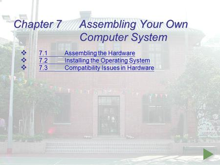 Chapter 7Assembling Your Own Computer System  7.1Assembling the Hardware 7.1Assembling the Hardware 7.1Assembling the Hardware  7.2Installing the Operating.