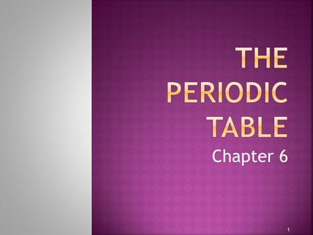 The Periodic Table Chapter 6.
