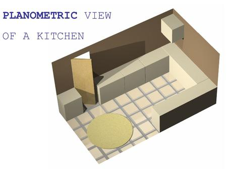 PLANOMETRIC VIEW OF A KITCHEN. PLANOMETRIC VIEW OF A KITCHEN Draw the plan shown below. Use the dimensions of this to draw the 30/60 degree planometric.