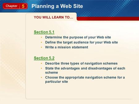 5 Planning a Web Site Section 5.1 Determine the purpose of your Web site Define the target audience for your Web site Write a mission statement Section.