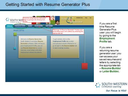 Our Focus is YOU! Getting Started with Resume Generator Plus If you are a first time Resume Generator Plus user: you will begin by going to the Employment.