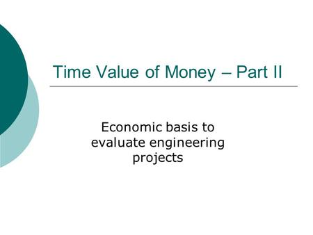 Time Value of Money – Part II