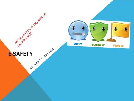 E-SAFETY BY HARRY BELTON My tips on how to stay safe on the internet!!!