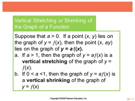 2.7 - 1 Vertical Stretching or Shrinking of the Graph of a Function Suppose that a > 0. If a point (x, y) lies on the graph of y =  (x), then the point.