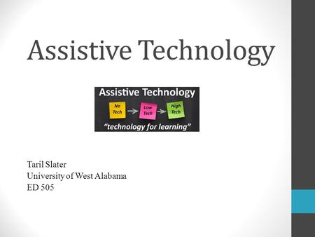 Assistive Technology Taril Slater University of West Alabama ED 505.
