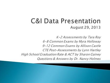 K-2 Assessments by Tara Roy 6-8 Common Exams by Myra Holloway 9-12 Common Exams by Allison Castle CTE Post-Assessments by Lynn Hartley High School Graduation.