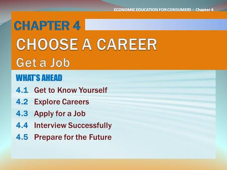CHAPTER 4 CHOOSE A CAREER Get a Job