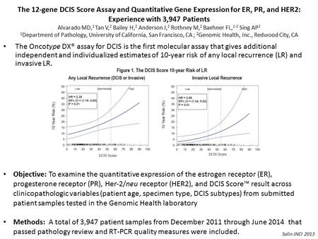 The 12-gene DCIS Score Assay and Quantitative Gene Expression for ER, PR, and HER2: Experience with 3,947 Patients Alvarado MD, 1 Tan V, 2 Bailey H, 2.