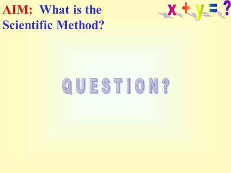 AIM: What is the Scientific Method? Have you ever heard of the Scientific Method? 1.Yes 2.No.