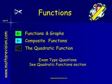 Www.mathsrevision.com Nat 5 www.mathsrevision.com Functions Functions & Graphs Composite Functions Exam Type Questions See Quadratic Functions section.