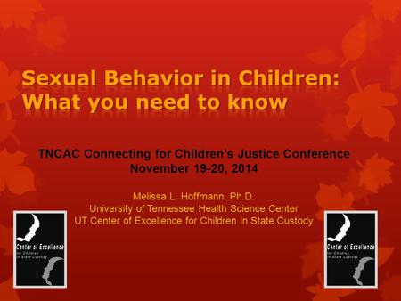 TNCAC Connecting for Children's Justice Conference November 19-20, 2014 Melissa L. Hoffmann, Ph.D. University of Tennessee Health Science Center UT Center.