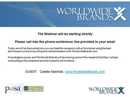 The Webinar will be starting shortly Please call into the phone conference line provided in your email Today we will be discussing how you can beat the.