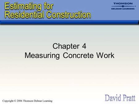Chapter 4 Measuring Concrete Work