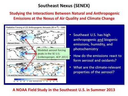Southeast Nexus (SENEX) Studying the Interactions Between Natural and Anthropogenic Emissions at the Nexus of Air Quality and Climate Change A NOAA Field.