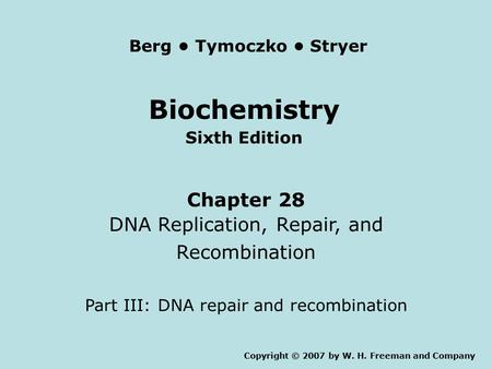 Biochemistry Sixth Edition Chapter 28 DNA Replication, Repair, and Recombination Part III: DNA repair and recombination Copyright © 2007 by W. H. Freeman.