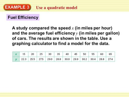 EXAMPLE 3 Use a quadratic model Fuel Efficiency A study compared the speed x (in miles per hour) and the average fuel efficiency y (in miles per gallon)
